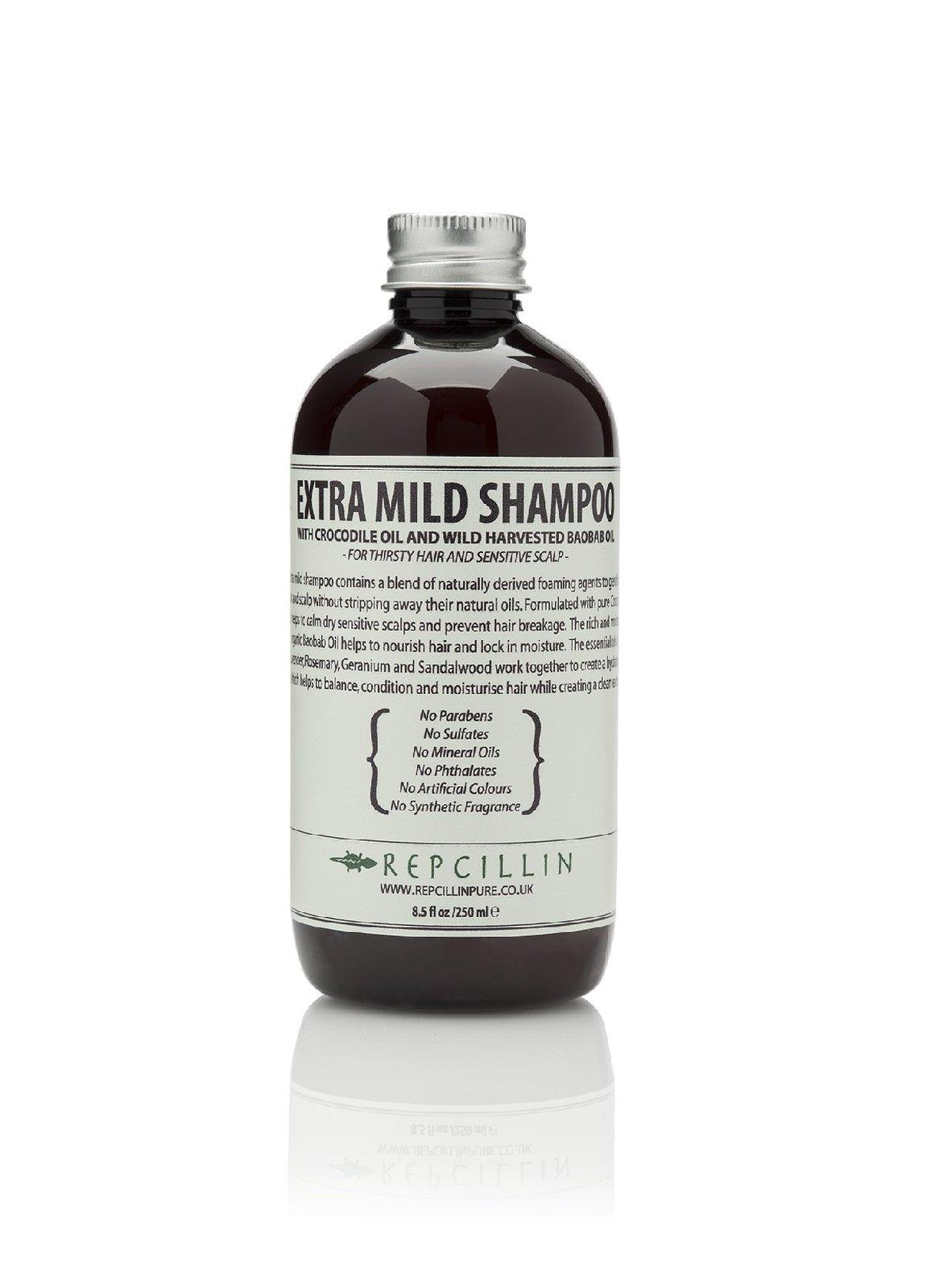 Repcillin Extra Mild Shampoo with Crocodile Oil and Wild Harvested Baobab Oil...