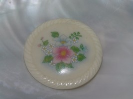 Vintage Avon Signed Painted Pink Blue Floral Bouquet Round Cream Ceramic Pin - $8.59