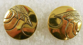 "LAUREL BURCH Triple 'Mynah Birds"" Gold-Tone Embellished Post EARRINGS -F... - $25.00"