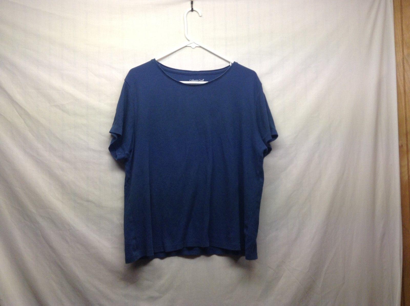 Coldwater Creek Navy Blue Cotton Blouse Sz XL