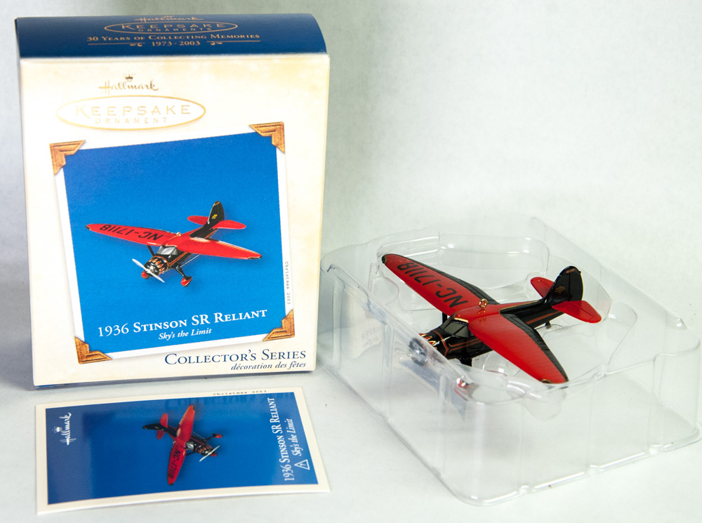 Primary image for Hallmark 2003 Keepsake Ornament 1936 Stinson SR Reliant Airplane #7 Sky's Limit