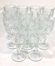 12 Libbey Hobstar Goblet/Dessert/Water Glasses, 71/4 Inch Tall, Ornate, Heavy - $110.00
