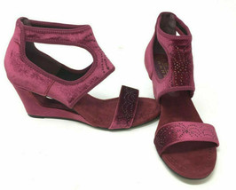 New York Transit Natural Pretty Wedge Sandals Wine Size 8.5 W - $39.59