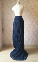 Navy Extra Long Tulle Skirt Wedding Full Maxi Wedding Bridesmaid Skirt Plus Size image 5