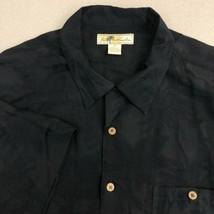 Joe Marlin Button Up Shirt Mens 3X Black Palm Island Straight Hem Hawaiian - $18.95