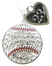 Custom Baseball Crystal Silver Necklace Jewelry Jersey Numbers 00-49 Avail - $15.19