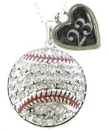 Custom Baseball Crystal Silver Necklace Jewelry Jersey Numbers 00-49 Avail - $15.99