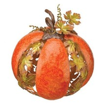 Glorious Fall Harvest Metal 3-Dimensional Leaf Pumpkin 7.5 Inch Hallowee... - £38.66 GBP