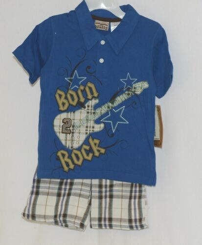 Little Rebels Boys Two Piece Born 2 Rock Shirt Shorts Outfit 24 Months