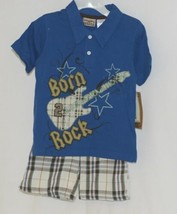 Little Rebels Boys Two Piece Born 2 Rock Shirt Shorts Outfit 24 Months image 1