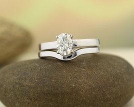 7x5MM Oval Brilliant Solid 14K White Gold Over Silver Simple Engagement Ring Set - $110.39