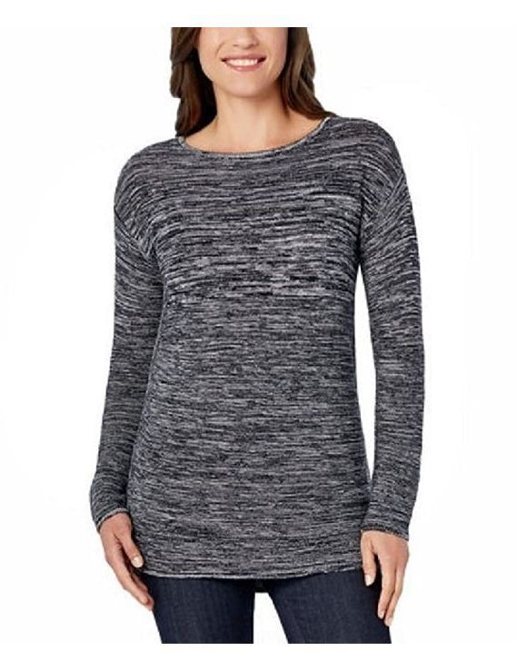 Primary image for Ellen Tracy Marled Knit Boat Neck Pullover Sweater, Black/Ivory, Size XL.