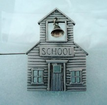 Vintage JJ Jonette Jewelry Pewter School House Pin Brooch Mechanical Bell - $12.00