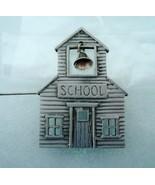 Vintage JJ Jonette Jewelry Pewter School House Pin Brooch Mechanical Bell - $12.00