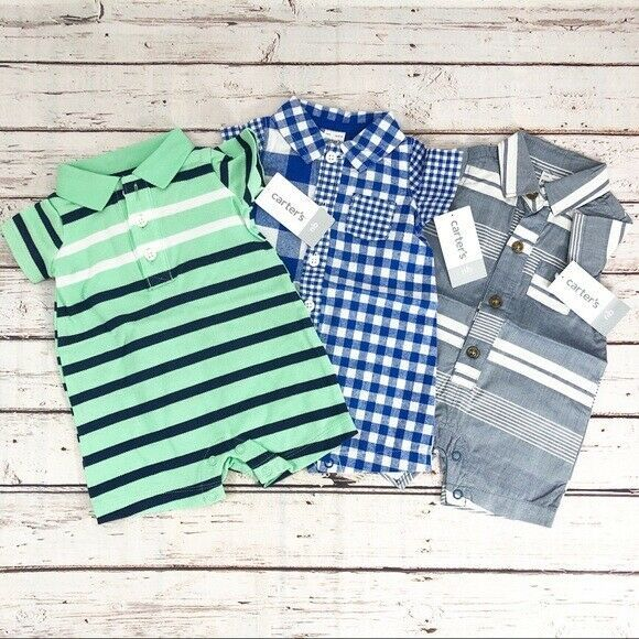 Primary image for Set of 3 Carter's Baby Boy Romper One-Piece - New Born