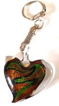 crystal heart with copper and green colouring handmade in uk from uk made parts