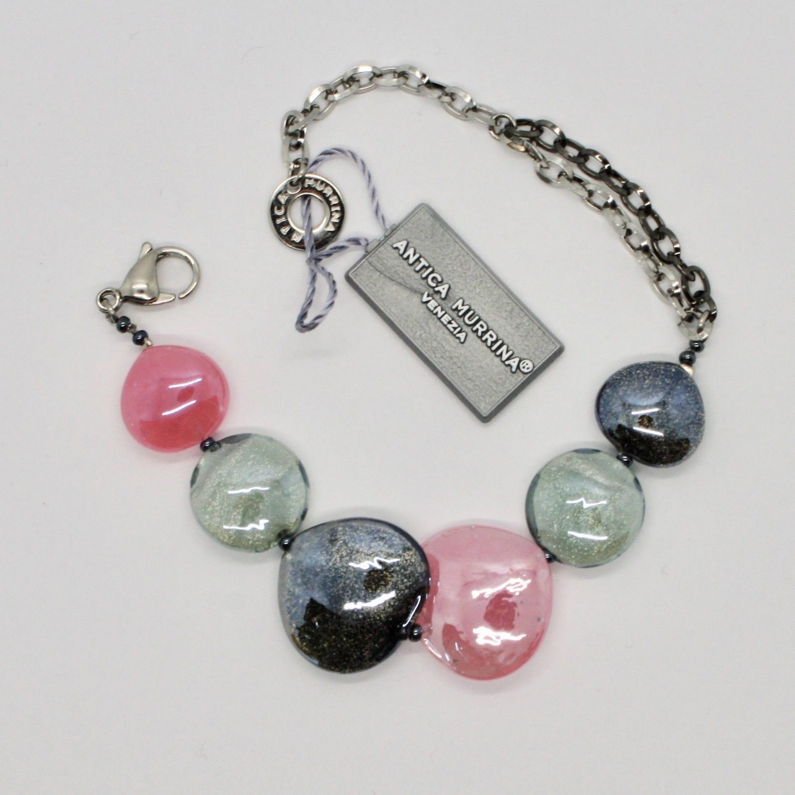 BRACELET ANTICA MURRINA VENEZIA WITH MURANO GLASS GRAY PINK BEIGE BR800A45