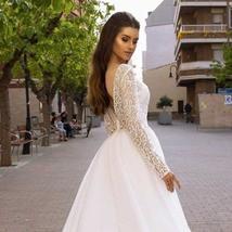 Sweetheart Lace Cut Illusion Long Sleeve Bridal Backless Organza A-Line Wedding  image 4