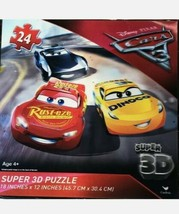 """Cars 3 Super 3D Jigsaw Puzzle 24 Pc Lightning McQueen 18x12"""" sealed - $9.74"""