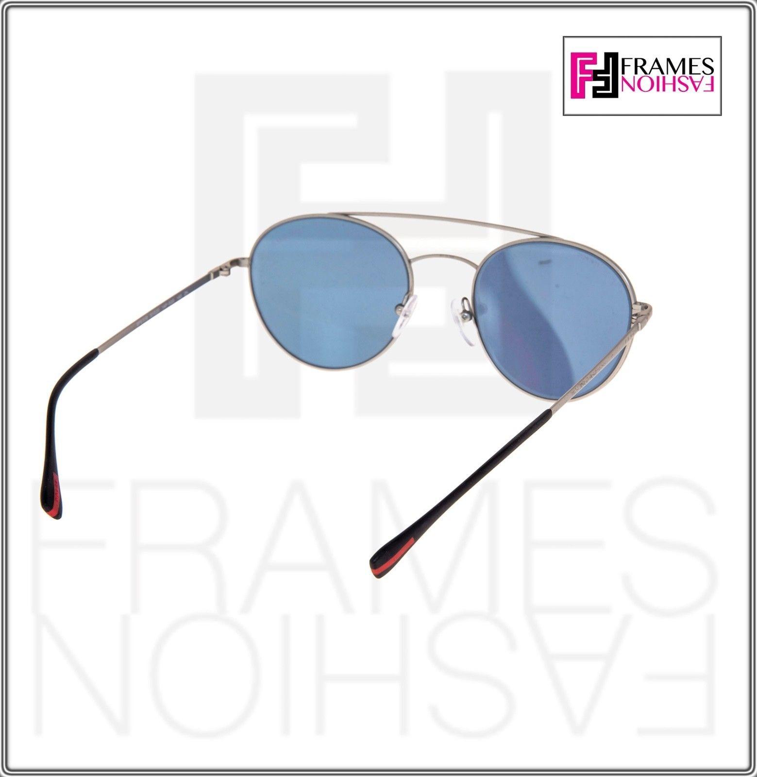 PRADA 51S Linea Rossa Spectrum Round Sunglasses Matte Silver Blue Mirrored PS51S