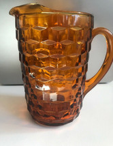 Vintage Whitehall Colony Cubist Golden Amber Glass Pitcher  - $17.75