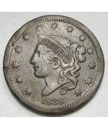 1838 Braided Hair Large Cent Coin CH VF Details AF33 - $57.02