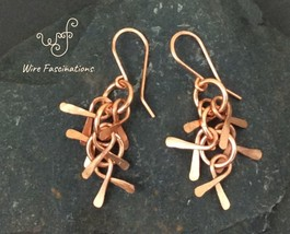 Handmade copper earrings: chainlink waterfall of hammered solid copper d... - $25.00