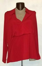 Lane Bryant Women's Red Long Sleeve Faux  Wrap Collared Shirt Plus Size ... - $14.99