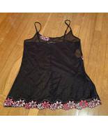 Victorias Secret Sheer Nighty Black Floral Large - $11.65