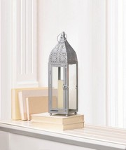 Small Silver Moroccan Style Candle Lantern Intricate Design on Top - $25.43