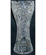 ABP American Brilliant Period Cut Glass Hourglass Vase Starburst Zipper ... - $119.95