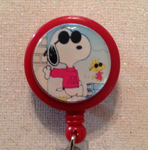 Snoopy Badge Reel Id Holder Red Alligator Clip Handmade New - $8.99