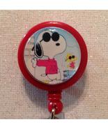Snoopy Badge Reel Id Holder Red Alligator Clip Handmade New - $8.99