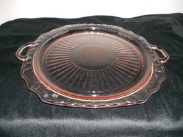 """Hocking Glass Co.Pink Mayfair """"Open Rose"""" 14"""" Handled Sandwich Plate/Tray - $19.79"""
