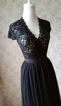 Sexy Black lace tops Deep V Black Lace Topper Plus Size Black Lace Tops - £27.40 GBP