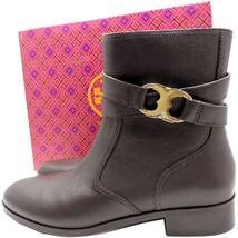 Tory Burch Tumbled Leather Gemini Gold Flat Riding Boots Gold Logo Booti... - $170.00