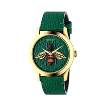 Gucci YA1264065 Green Dial Leather Strap Unisex Watch - $662.99