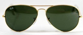 New Ray Ban 3026 L2846 Aviator Gold Large Sunglasses G-15 Lens 62mm Genuine - $103.90