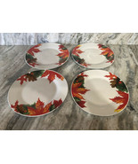 "Royal Norfolk 10 1/2"" Dinner Plates Set Of 4 Fall Autumn Leaves-RARE-SHI... - $39.48"