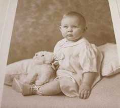 Antique Photograph Baby Girl Posing with Stuffed Toy Dog Studio Photography - $14.99