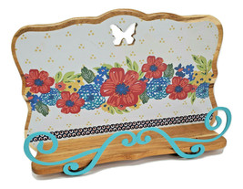 The Pioneer Woman Dazzling Dahlias Floral Wood Cookbook Tablet Holder Ea... - $65.23
