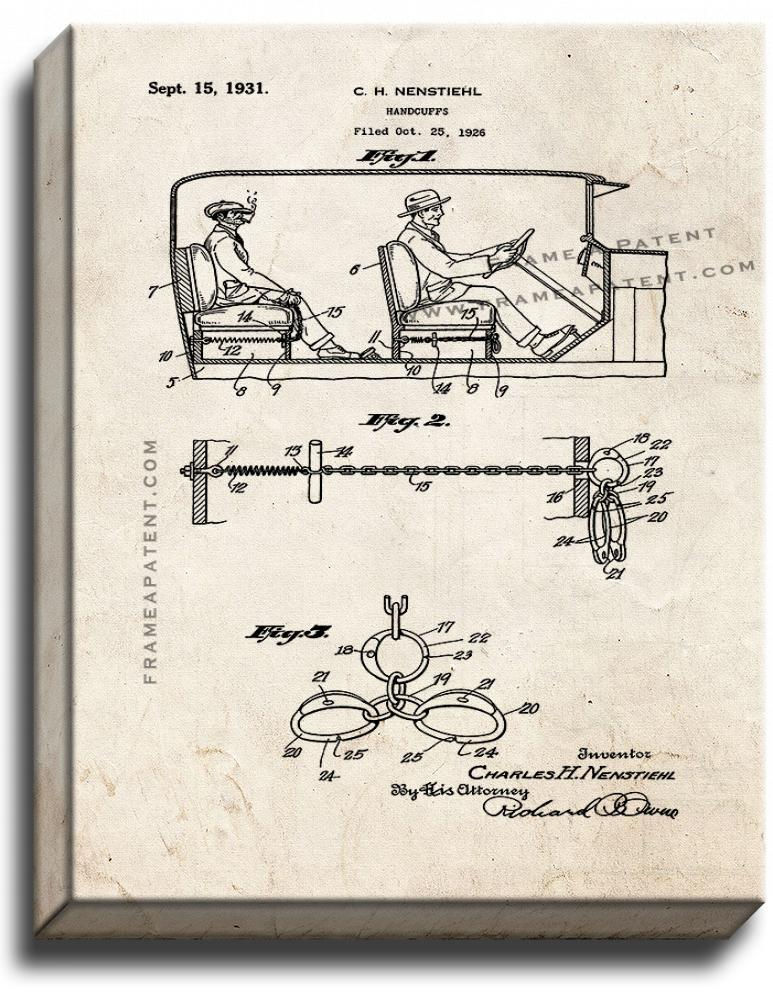 Primary image for Automobile Handcuffs Patent Print Old Look on Canvas