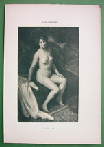 NUDE Young Woman on Bed Awoken - 1903 Lichtdruck Print - $11.25