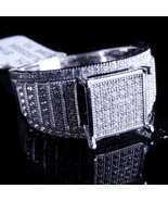 Ladies 14K White Gold Fn Lab Diamond Enagement Ring Cluster Square Accen... - $64.99
