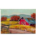 Orig Oil Painting aceo landscape Okla Red Barn Autumn CONYERS ATC - $5.00