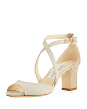 Jimmy Choo Carrie Canvas 65mm Sandals  $695.00 Size 36 - $395.99