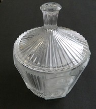Pleat and Panel Cristal d'Arques Ribbed & Floral Pattern Covered Candy Dish - $19.68
