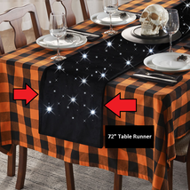 "Halloween Velvet Table Runner w/ Cordless White LED Lights 72"" L x 14"" H... - $108.08"