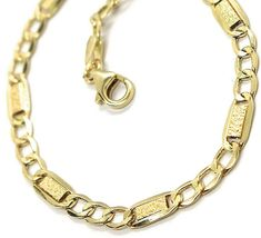 18K YELLOW GOLD CHAIN 4 MM, 19.7 INCHES, ALTERNATE GOURMETTE AND BUBBLES PLATE image 3