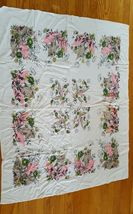 Vintage Tablecloth Pink Green Black flowers on white 51 x 41 inches VGC - $10.84